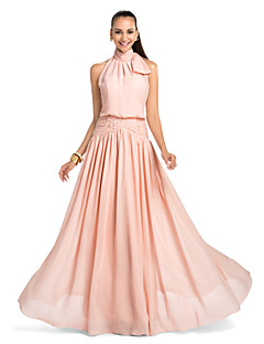 Formal Evening / Prom / Military Ball / Wedding Party Dress - Pearl Pink Plus Sizes / Petite Sheath/Column High Neck Floor-length Chiffon