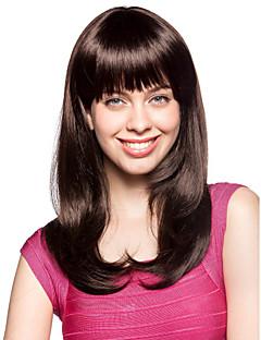 sin tapa larga sintético de alta calidad de color marrón oscuro peluca de pelo rizado (0463-lpp522)