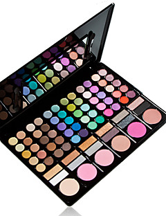 78 Farben professionellen 3in1 60 + 12 rauchigen Eyeshadow 6 Rouge Make-up Kosmetik-Palette mit Spiegel&2 Schwammapplikator