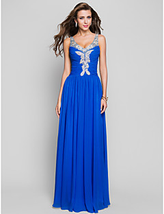 Formal Evening / Prom / Military Ball Dress - Ocean Blue Plus Sizes / Petite Sheath/Column Straps Floor-length Chiffon