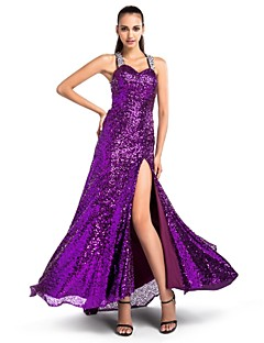 Formal Evening/Military Ball Dress - Grape Plus Sizes Sheath/Column Sweetheart/Straps Sweep/Brush Train Sequined