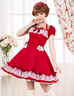 Short Sleeve Knee-length Cotton School Lolita Dress with Lace