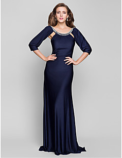 TS Couture® Formal Evening / Military Ball Dress - Open Back Plus Size / Petite Trumpet / Mermaid Scoop Sweep / Brush Train Jersey with Beading