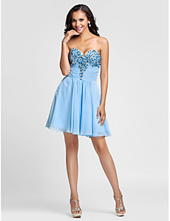 Cocktail Party/Prom Dress - Sky Blue Plus Sizes A-line/Princess Sweetheart/Strapless Short/Mini Chiffon