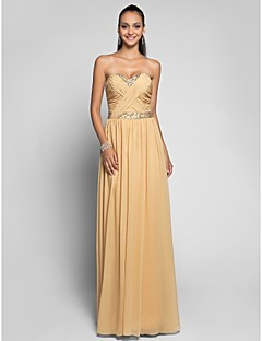 TS Couture® Formal Evening / Prom / Military Ball Dress - Gold Plus Sizes / Petite Sheath/Column Sweetheart Floor-length Chiffon