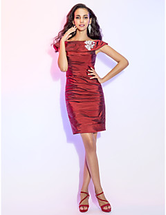 Homecoming Cocktail Party Dress - Burgundy Plus Sizes Sheath/Column Off-the-shoulder Short/Mini Taffeta