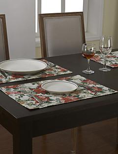 Ensemble De 4 Pays Mélange coton polyester imprimé rouge Napperons Floral