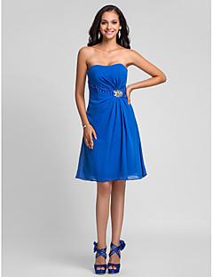 Платье для подружек невесты - королевский синий Трапеция/Принцесса  Без лямок Длина до колен  Шифон  Большие размеры