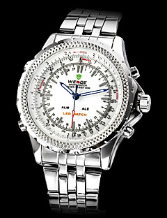 WEIDE® Brand Men's Dual Time Analog-Digital LCD Display Steel Band Luxury Wrist Watch Cool Watch Unique Watch