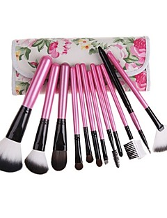12pcs Pony Hair Makeup Brushes set Pink powder/foundation/concealer/blush/shadow/eyeliner/lip brush cosmetic brush With Floral Pink Pouch