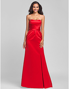 Lanting Bride® Sweep / Brush Train Satin Lace-up Bridesmaid Dress - Sheath / Column Strapless / Sweetheart Plus Size / Petite withSash /