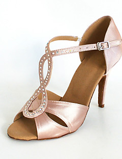 Customized Satin Arch Strap Latin / Ballroom Dance Performance Shoes With Buckle (More Colors)