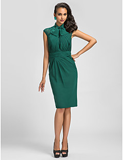 Cocktail Party Dress - Dark Green Plus Sizes / Petite Sheath/Column High Neck Knee-length Chiffon