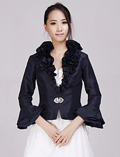 Wedding  Wraps Coats/Jackets 3/4-Length Sleeve Taffeta Dark Navy Wedding / Party/Evening / Office & Career / Casual Beading / Ruffles