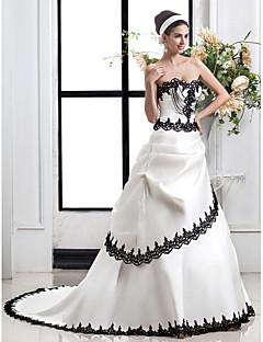 웨딩 드레스 - 아이보리(색상은 모니터에 따라 다를 수 있음) A 라인 쿼트 트레인 스윗하트 사틴 플러스 사이즈