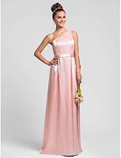 신부 들러리 드레스 - 펄 핑크 시스/컬럼 바닥 길이 원 숄더 엘라스틱 실크같은 사틴 플러스 사이즈