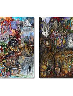 Trasferimenti su tela Art Persone Dickens e Canto di Natale di Bill Campana Set di 2