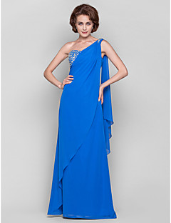 Sheath / Column Plus Size / Petite Mother of the Bride Dress Floor-length / Watteau Train Sleeveless Chiffon withBeading / Crystal