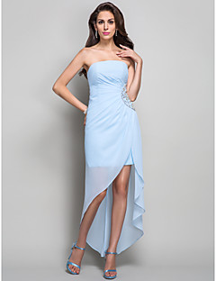 저녁 정장파티/밀리터리 볼 드레스 - 스카이 블루 시스/컬럼 비대칭 스트랩 없음 쉬폰 플러스 사이즈