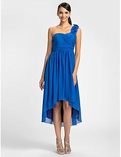 Kleid - Königsblau Chiffon - Etui-Linie - asymmetrisch - 1-Schulter