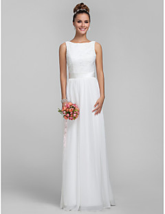 Floor-length Chiffon / Lace Bridesmaid Dress Sheath / Column Bateau Plus Size / Petite with Lace / Sash / Ribbon