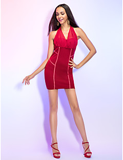 Cocktail Party Dress - Ruby Sheath/Column Halter/V-neck Short/Mini Rayon