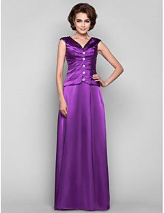 A-line Plus Sizes / Petite Mother of the Bride Dress - Grape Floor-length Sleeveless Stretch Satin