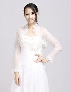 halv ermet organza og blonder brude bryllup wrap / kveld jakke (flere farger) bolero skuldertrekk