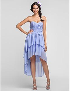 Short/Mini Chiffon Bridesmaid Dress - Lavender Plus Sizes Sheath/Column Sweetheart