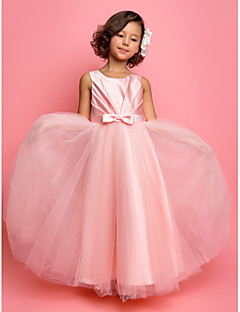 A-line Princess Ankle-length Flower Girl Dress - Satin Tulle Jewel with Bow(s) Sash / Ribbon Side Draping