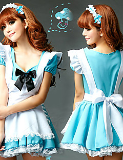 Sweet Girl White Apron Sky Blue Polyester Maid Uniform