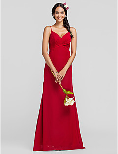 Lanting Floor-length Chiffon Bridesmaid Dress - Ruby Plus Sizes / Petite Sheath/Column Spaghetti Straps