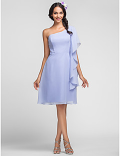 Lanting Bride Knee-length Chiffon Bridesmaid Dress Sheath / Column One Shoulder Plus Size / Petite with Cascading Ruffles