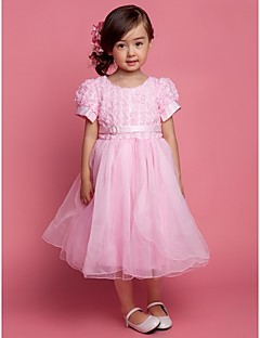 A-line/Ball Gown/Princess Knee-length Flower Girl Dress - Tulle/Polyester Short Sleeve