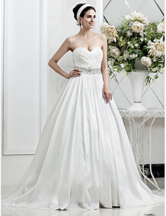 A-line/Princess Plus Sizes Wedding Dress - Ivory Court Train Sweetheart Taffeta