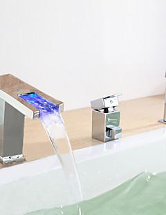 Zeitgenössisch Romanische Wanne LED / Wasserfall / Breite spary with  Keramisches Ventil Einhand Drei Löcher for  Chrom ,