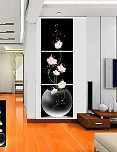 Sträckta canvas konst Blommor Pink Flower Set av 3