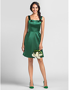 Knee-length Stretch Satin Bridesmaid Dress - Dark Green Plus Sizes / Petite Sheath/Column Straps