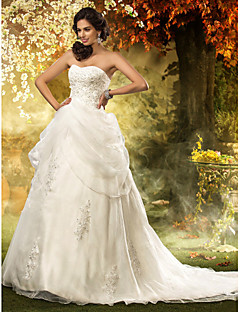 Lanting A-line/Princess Plus Sizes Wedding Dress - Ivory Chapel Train Sweetheart Organza