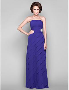 Vestido Para Mãe dos Noivos - Indigo Tubo/Coluna Longo Sem Mangas Chiffon Tamanhos Grandes