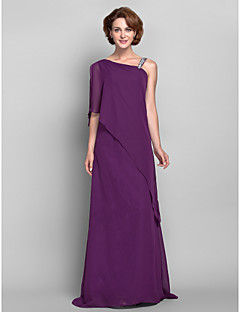 Lanting Bride® Sheath / Column Plus Size / Petite Mother of the Bride Dress Floor-length Sleeveless Chiffon with Beading