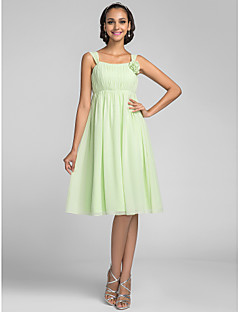 Vestido de Dama de Honor - Salvia Corte A Tirantes - Hasta la Rodilla Gasa Tallas grandes