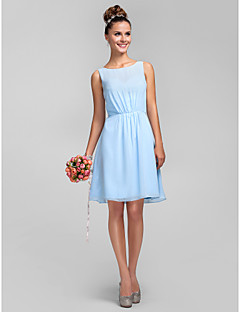 Homecoming Knee-length Chiffon Bridesmaid Dress - Sky Blue Plus Sizes A-line/Princess Bateau
