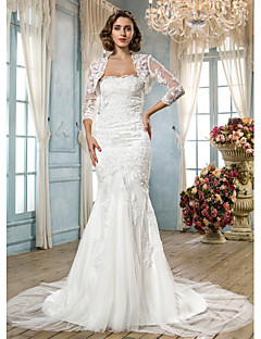 Lanting Bride Trumpet/Mermaid Petite / Plus Sizes Wedding Dress-Court Train Scalloped-Edge Tulle