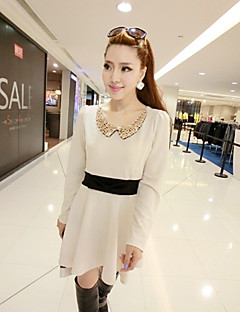 Women's Casual/Daily Skater Dress,Color Block Peter Pan Collar Above Knee Long Sleeve Polyester All Seasons