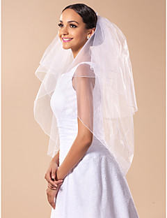 Elegant Two-tier Fingertip Wedding Veil With Pencil Edge And Comb