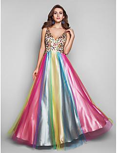 Fiesta formal/Fiesta de baile/Baile Militar Vestido - Multicolor Corte A/Corte Princesa Hasta el Suelo - Escote en V Tul Tallas grandes