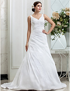 A-line Wedding Dress - Classic & Timeless Glamorous & Dramatic Simply Sublime Chapel Train V-neck Taffeta with Side-Draped