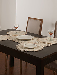 Set of 5 White Hollow Design Table Runner & Placemat