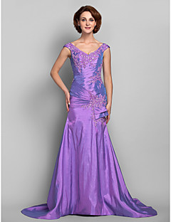 Dress - Lilac Plus Sizes / Petite Trumpet/Mermaid V-neck Sweep/Brush Train Taffeta